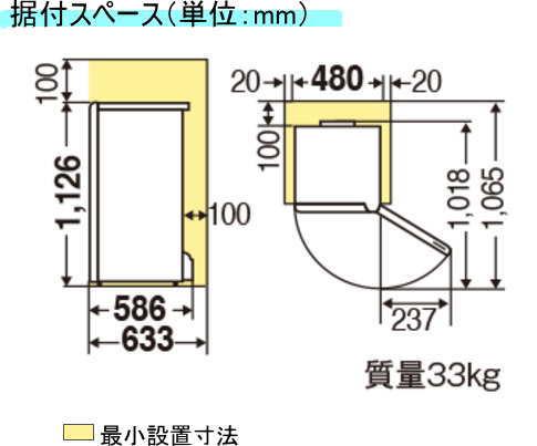 据付スペースの図